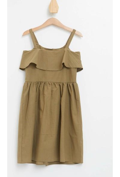 DeFacto Kız Çocuk Askılı Düğme Detaylı Keten Elbise