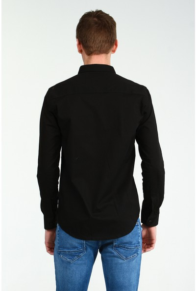 Collezione Erkek Siyah Slim Gömlek