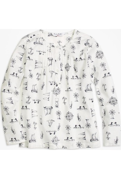 Brooks Brothers Kız Çocuk Krem Gömlek