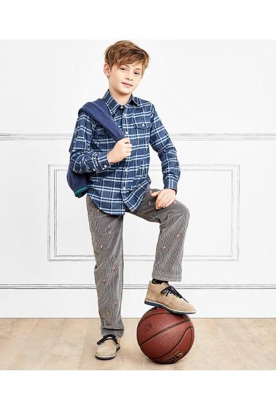 Brooks Brothers Kar Kızağı İşlemeli Kadife Çocuk Pantolon
