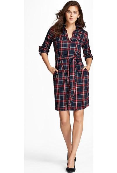 Brooks Brothers Kadın Lacivert Ekose Gömlek Elbise