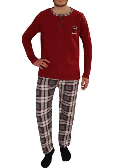 Tampap 2105 Ekonomik Mevsimlik Uzun Kol Pamuklu Kareli Erkek Pijama Takımı Bordo