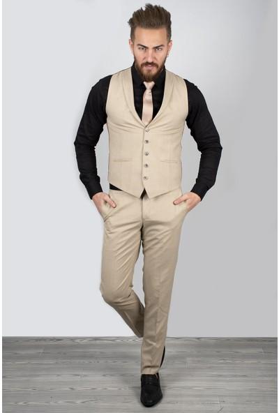 Deepsea Bej Kendinden Desenli İtalyan Kesim Pantolon Yelek Takım 2009054