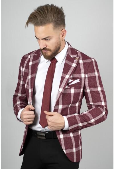 Deepsea Bordo Kare Desenli Kırçıllı Slim Fit Blazer Ceket 2000126