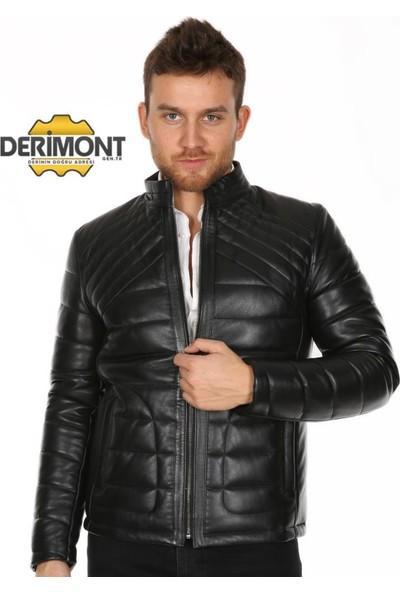 Derimont's Erkek Siyah Şişme Deri Mont
