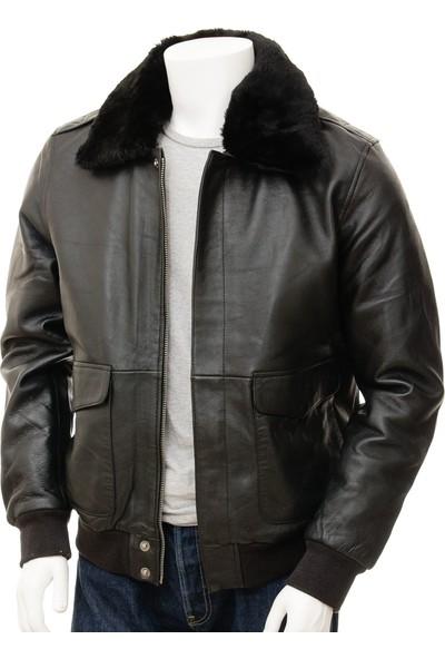 Derimont's Siyah Erkek Deri Pilot Ceketi