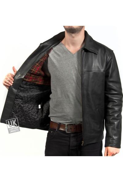 Derimont's Erkek Siyah Klasik Deri Ceket Superior