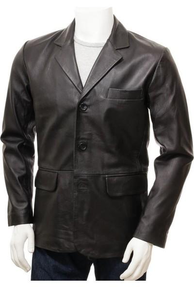 Derimont's Siyah Erkek Deri Blazer Leskovac