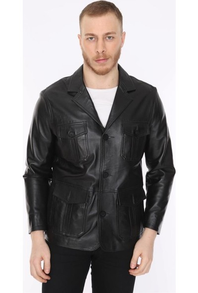 Derimont's Erkek Deri Ceket Siyah Blazer Cepli