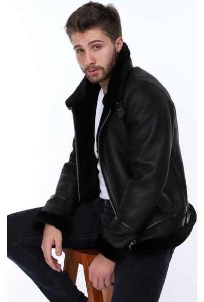 Derimont's Navas Yakası Kürklü Erkek Deri Ceket