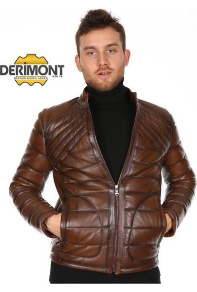 Derimont's Erkek Taba Şişme Deri Mont