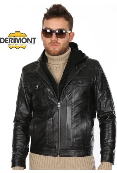 Derimont's Erkek Kapşonlu Siyah Spor Deri Mont