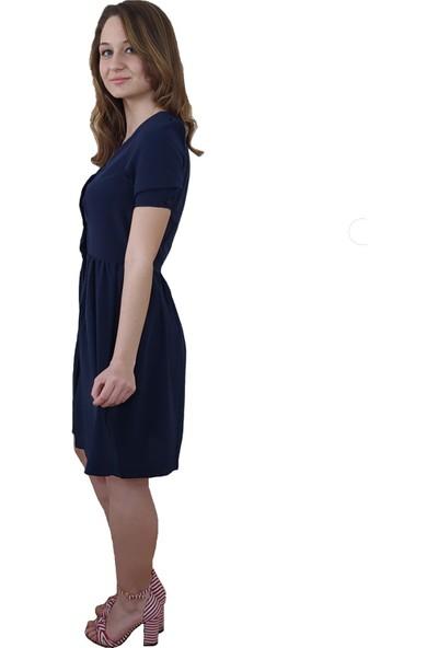 Boutiquen V Yaka Önü Düğmeli Lacivert Elbise S
