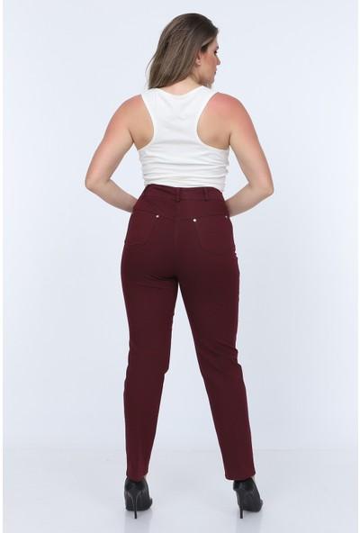 Gül Moda Bordo Kadın Yüksek Bel Cotton Cepli Pantolon Bordo