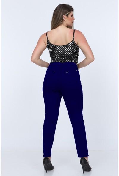 Gül Moda Lacivert Kadın Yüksek Bel Cotton Cepli Pantolon Lacivert