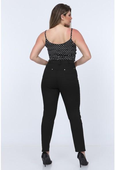 Gül Moda Siyah Kadın Yüksek Bel Cotton Cepli Pantolon Siyah