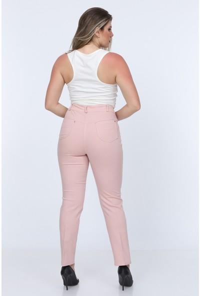 Gül Moda Pudra Kadın Yüksek Bel Cotton Cepli Pantolon Pudra