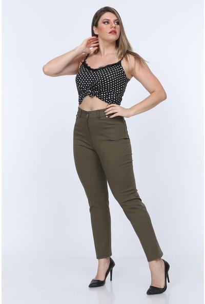 Gül Moda Askeri Yeşil Kadın Yüksek Bel Cotton Cepli Pantolon Askeri Yeşil