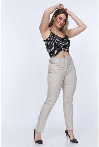 Gül Moda Bej Kadın Yüksek Bel Cotton Cepli Pantolon Bej