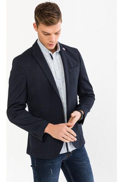Avva Erkek Lacivert Kurtağzı Yaka Desenli Slim Fit Cebi Kapaklı Ceket A92Y4010