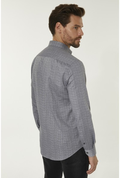 Avva Erkek Antrasit Baskılı Düğmeli Yaka Slim Fit Gömlek A92Y2008