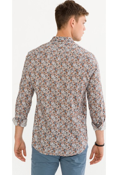 Avva Erkek Kiremit Baskılı Alttan Britli Yaka Slim Fit Gömlek A92Y2052