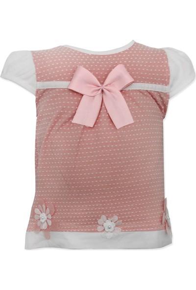 Mombi Pembe Papatyalı Fiyonklu Noktalı Yazlık Bebek Elbise K3101