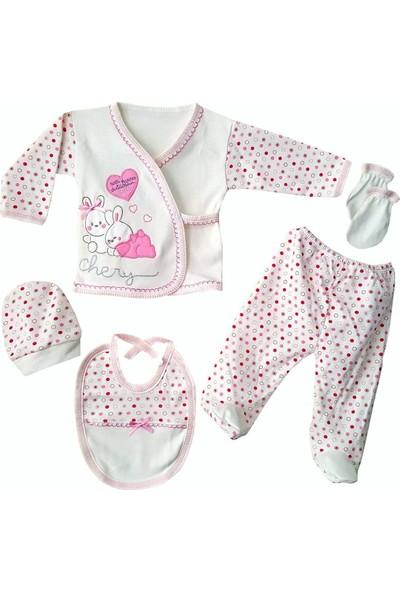 Bebegen Chery Kalpli Pembe 5 Parça Kız Bebek Hastane Çıkış Seti