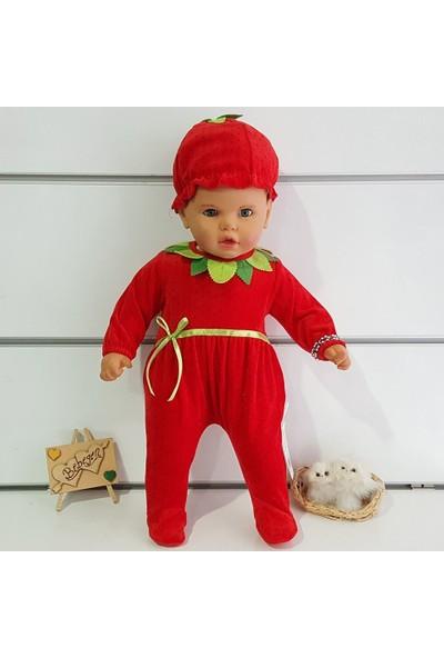 Bebegen Kadife Çilek Bereli Kız Bebek Tulum