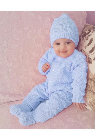 Bebegen Mavi , Bereli Triko Erkek Bebek Tulumu
