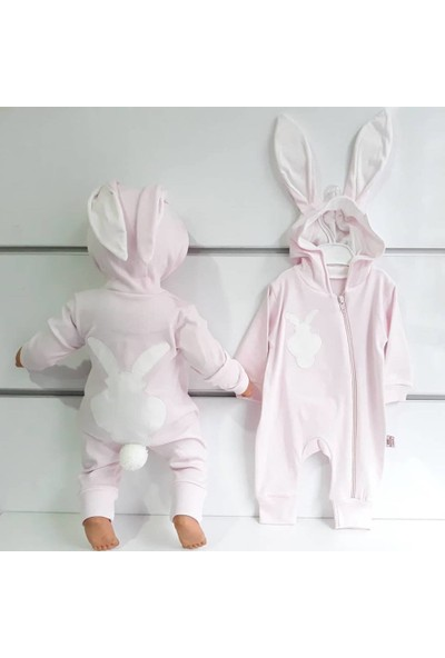 Bebegen Pembe Tavşan Kulaklı Ponponlu Bebek Tulum