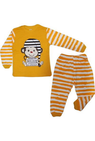 Bebegen Sarı Maymun Desenli 2'li Pijama Takımı