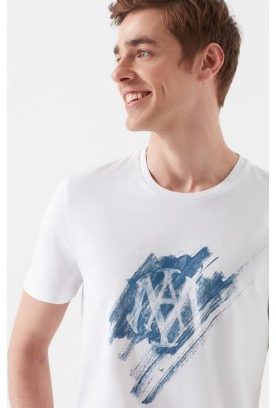 Mavi Mühür Logo Baskılı Beyaz Tişört 066202-620