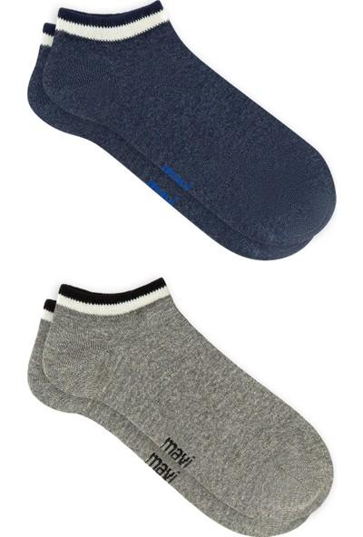 Mavi Erkek Çizgili İkili Çorap