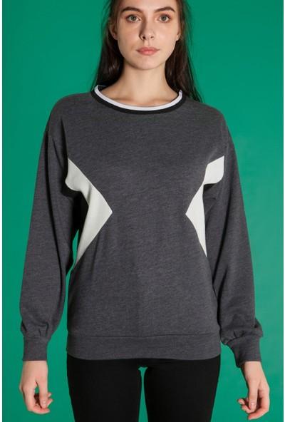 Bexy Yolanda - Yuvarlak Yaka Antrasit Sweatshirt L