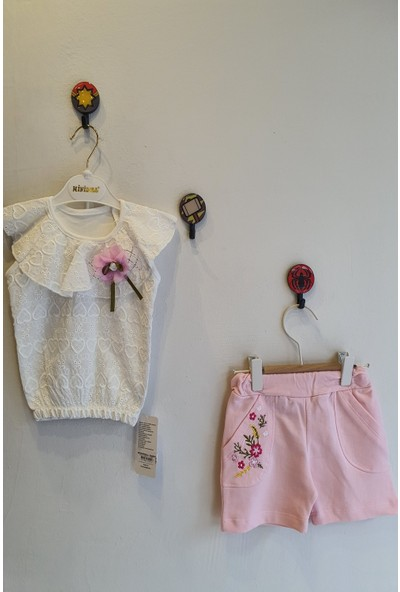 Minidoll Kız Bebek 12 - 24 Ay Kalpli Dantelli İkili Takım