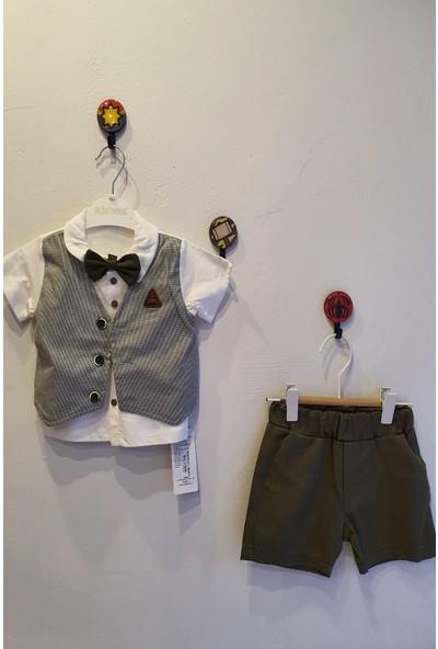 Minidoll Erkek Bebek 6 - 18 Ay Sahte Yelekli Papyonlu İkili Takım