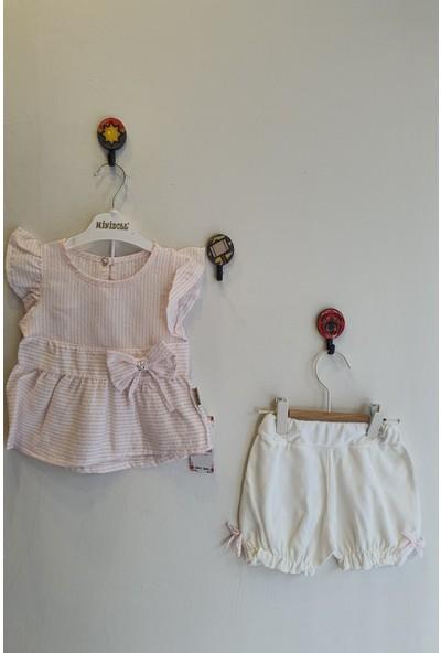 Minidoll Kız Bebek 6 - 18 Ay Çizgili Fiyonklu İkili Takım
