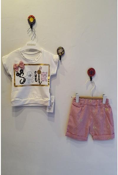 Minidoll Kız Bebek 6 - 18 Ay Smile Baskılı Taşlı İkili Takım