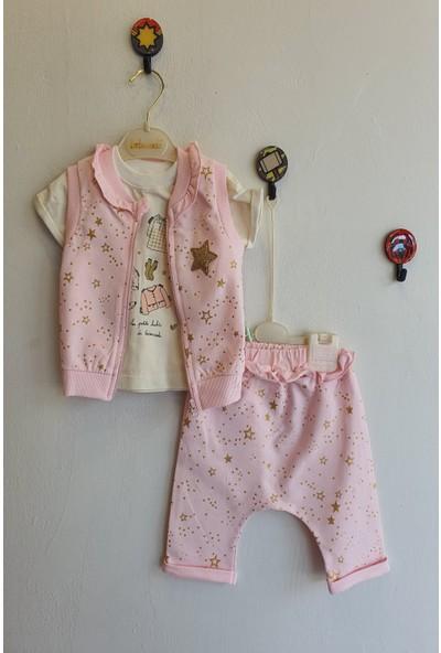 Bebezade Kız Bebek 6 - 18 Ay Yıldız Varaklı Üçlü Takım
