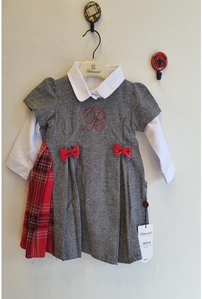 Bebemania Kız Bebek 6 - 24 Ay Ekoseli Pileli Elbise