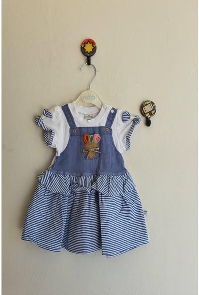 Mombi Kız Bebek 6 - 18 Ay Çizgili Kalpli Elbise