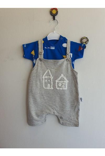 May Mirr Erkek Bebek 6 - 24 Ay Ev Figürlü İkili Salopet Takım