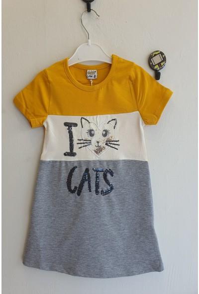 Mini Çitlenbik Kız Çoçuk 3 - 7 Yaş Kedi Işlemeli Elbise
