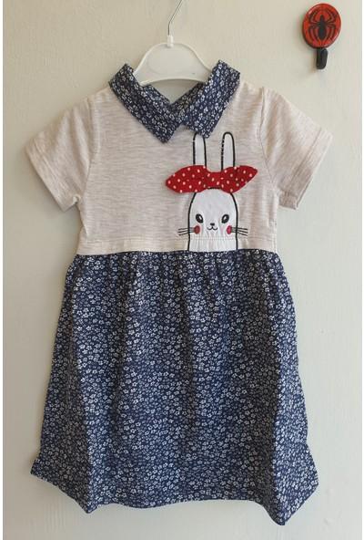 Mini Çitlenbik Kız Çoçuk 3 - 7 Yaş Tavşan Figürlü Çiçekli Elbise