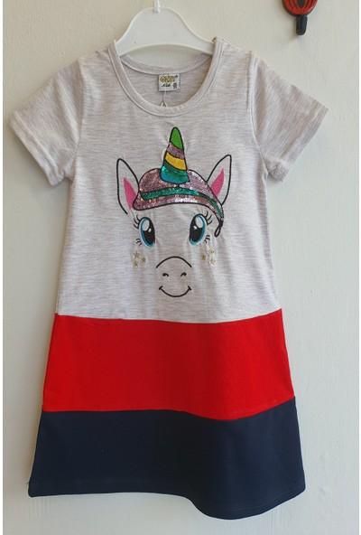 Mini Çitlenbik Kız Çoçuk 3 - 7 Yaş Unicorn Baskılı Pullu Elbise
