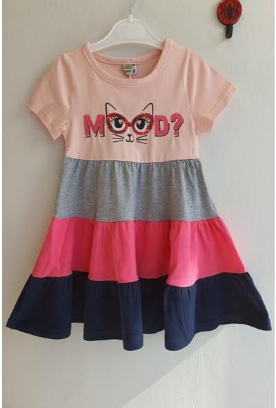 Mini Çitlenbik Kız Çoçuk 3 - 7 Yaş Mood Baskılı Fırfır Elbise