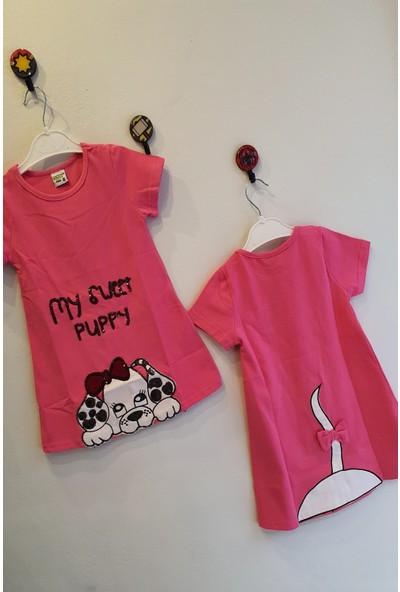 Mini Çitlenbik Kız Çoçuk 3 - 7 Yaş Köpek Işlemeli Elbise
