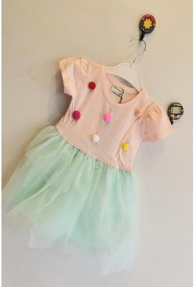 Mini Çitlenbik Kız Çoçuk 1 - 6 Yaş Ponponlu Tütülü Elbise