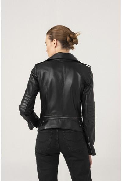 Black Noble Sandra Biker Siyah Deri Ceket